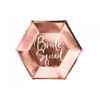Talířky Bride squad - rose gold